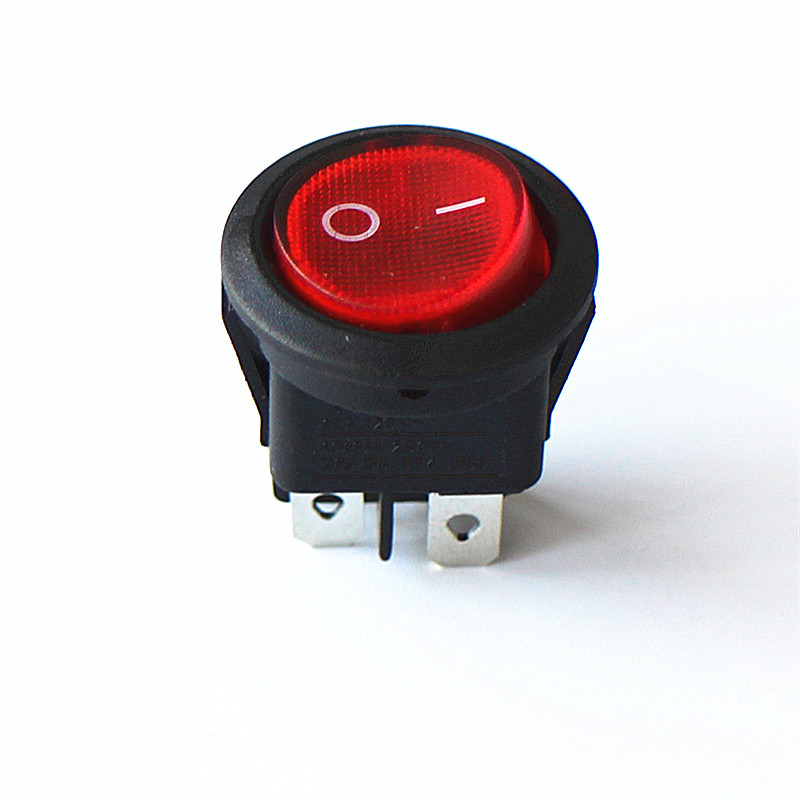 JOYING LIANG 224N Red with Light ON/OFF 4 Feet 6A 250V Power Switch Round Rocker Switches (2pcs/lot) 2pcs lot red 4 pin light on off boat button switch 250v 16a ac amp 125v 20a