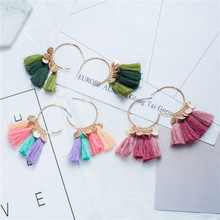 Colorful Bohemian tassel earrings for women Vintage Ethnic Boho long fringed earring 2019 spring fashion charm jewelry Gift
