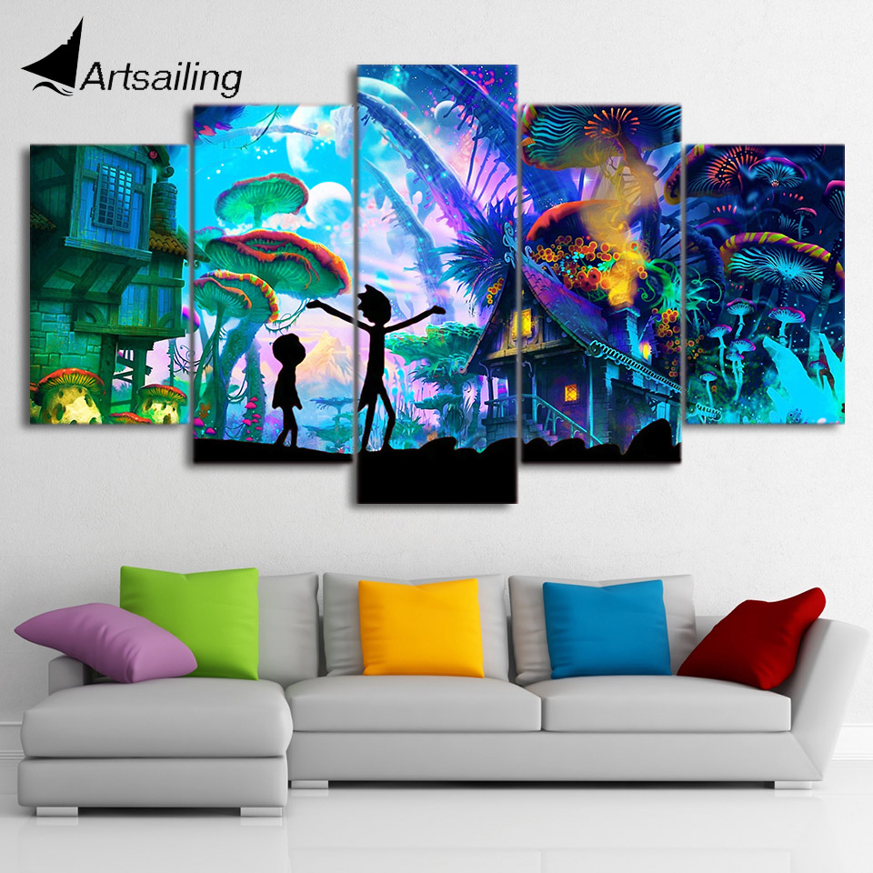 Artsailing rick and morty Canvas rick and morty painting rick and morty Poster Modular Pictures Wall Pictures dropshipping no frame canvas