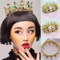 HG305 bride big crown vintage Baroque red crystal jewelry wedding headdress bridal hair accessories gold tiara