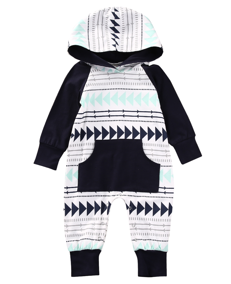 Spring Autumn Newborn Baby Boys Infant Long Sleeve Geometric Romper Cotton Clothes Outfits Casual Babies Pullover Hooded Rompers