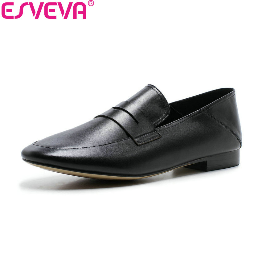 ESVEVA 2018 Casual Shoes Low Heels Slip on Women Pumps Cow Leather PU Square Heels Round Toe Handmade Ladies Shoes Size 34-39 nayiduyun women genuine leather wedge high heel pumps platform creepers round toe slip on casual shoes boots wedge sneakers