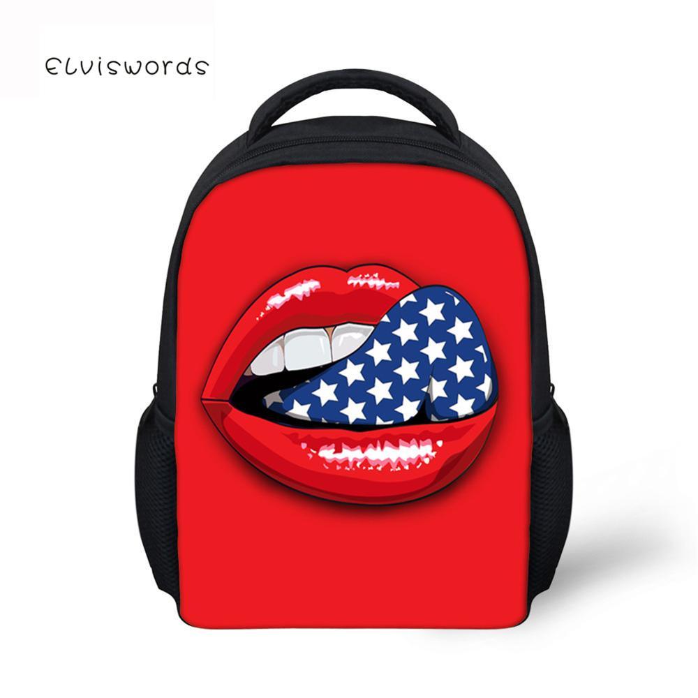 ELVISWORDS Kids Backpacks Unique School Bag For Girls Big Red Lips Printed Schoolbag Student Book bags Women Mini Mochila in Backpacks from Luggage Bags