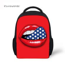 купить ELVISWORDS Kids Backpacks Unique School Bag For Girls Big Red Lips Printed Schoolbag Student Book bags Women Mini Mochila по цене 911.19 рублей