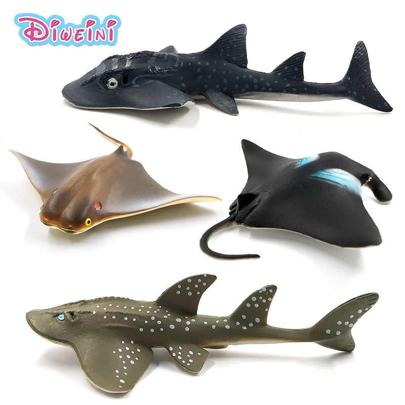 Simulação pequeno diabo peixe manta ray guitarfish figura de plástico modelo animal fada artesanato decoração para casa presente para crianças