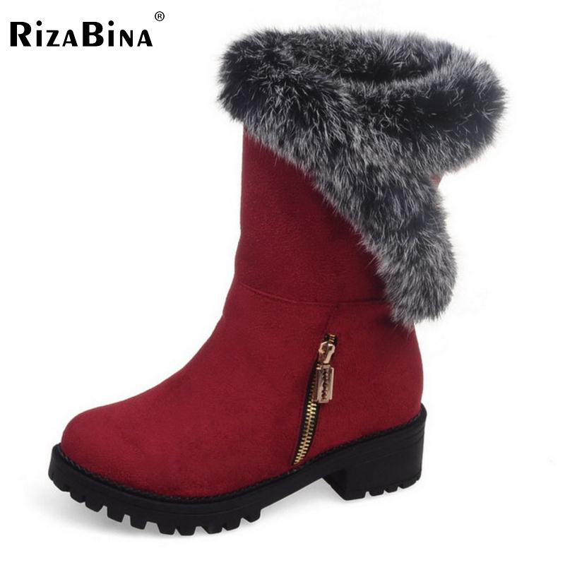 RizaBina New Fashion Woman Warm Snow Boots Women Flats Round Toe Boot Botas Femininas Winter Girls Shoes Footwear Size 30-52