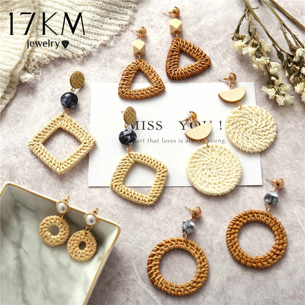 17KM Handmade Geometric Rattan Weave Chandelier Earrings For Women Round Square Triangle Drop Dangle Earring Party Gifts 2018