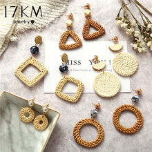 17KM Handmade Geometric Rattan Weave Chandelier Earrings For Women Round Square Triangle Drop Dangle Earring Party Gifts 2018(China)