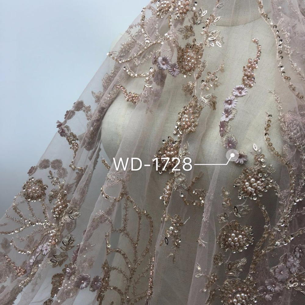 Heavy Three dimensional flowers handmade beaded African French Lace Fabric on Tulle embroidery bridal wedding dress Lace Fabrics in Lace from Home Garden