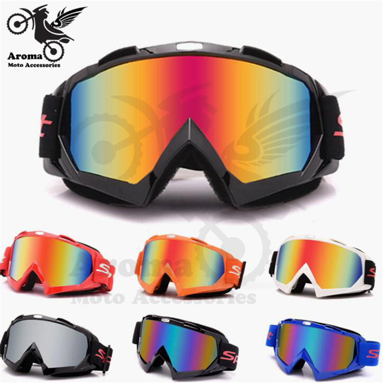 colorful clear lens motorbike eye protection universal moto dirt pit bike Off-road racing motorcycle glasses motocross goggle(China)