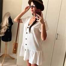 Tunic Cover-ups 2019 White Cotton Tunic Beach Mini Dress Summer Women Beachwear Sexy V-Neck Button Front Swimsuit Cover Up Q744
