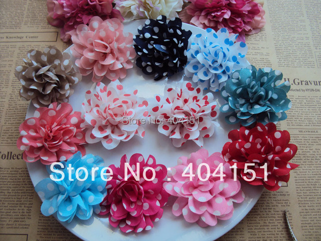 "Top Quality 100pcs/lot 3"" Polka Dot Fabric Flowers DIY Baby Kids Children Girl's Beauty Headbands Clips Flower Hair Accessories"