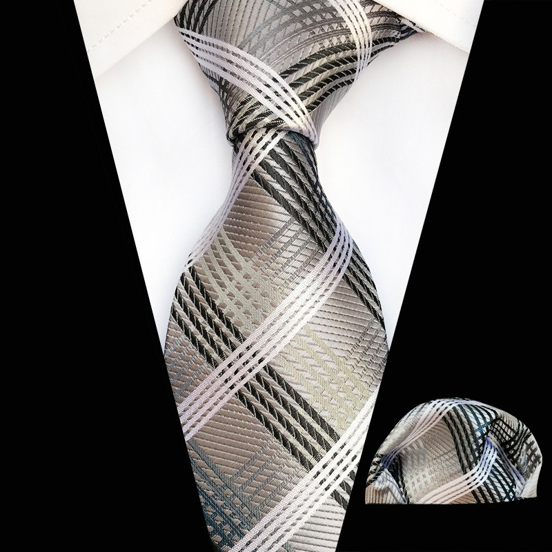 New Designs Gray Black Silver Fashion Floral Ties 8cm Mens Tie Silk Jacquard Neck Ties Pocket Square Set For Wedding Party Suit