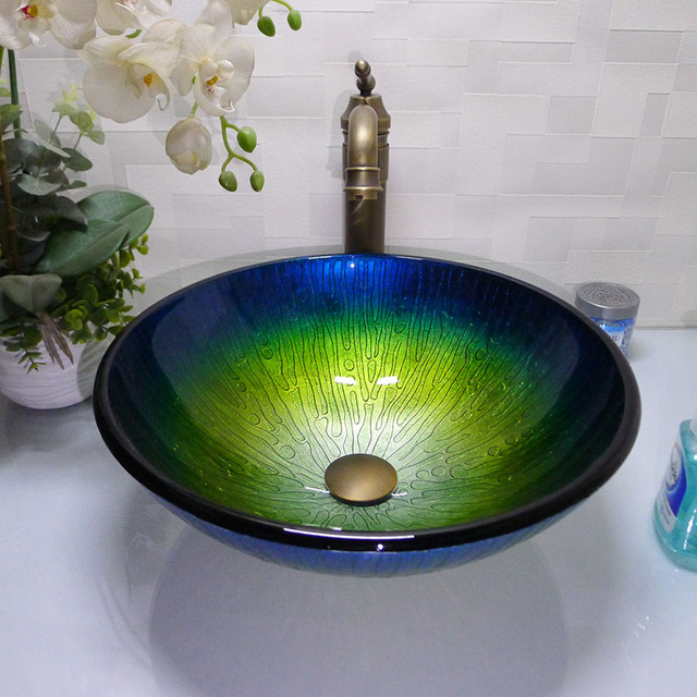 Bathroom Round Tempered Gl Above Counter Wash Basin Cloakroom Top Vessel Sink Hx012