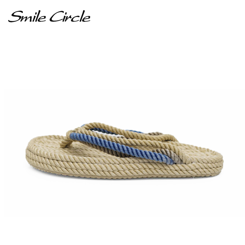 Smile Circle summer slippers women Fashion Handmade hemp rope flip flops Indoor outdoor beach Shoes for women flat sandals breathable women hemp summer flat shoes eu 35 40 new arrival fashion outdoor style light