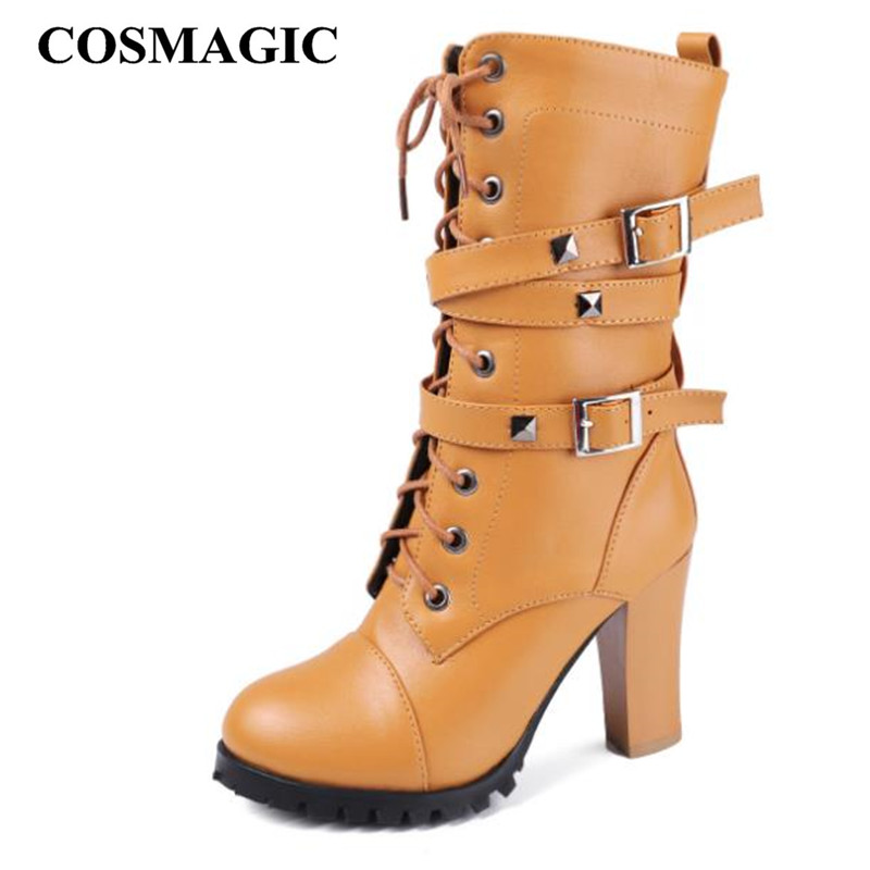 COSMAGIC 2019 New Women Mid Calf Motorcycle Boots Super High Heel Double Buckle Gothic Punk Zipper