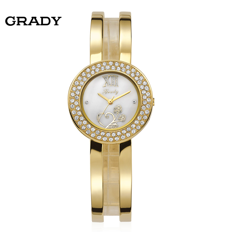 2016 Grady Fashion Gold Watch Shinny Czech Stone Women Watches Diamond Bangle Wrist Quartz Watch Free