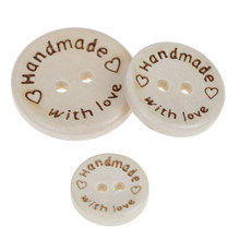 DIY baby apparel accessories 50PCS/lot Natural Color Wooden Buttons handmade love Letter wood button craft(China)