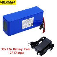 Liitokala  36V  12Ah  18650  batería de litio  alta potencia  para motocicleta  coche eléctrico  deporte de bicicleta  escúter con BMS + 2A ch