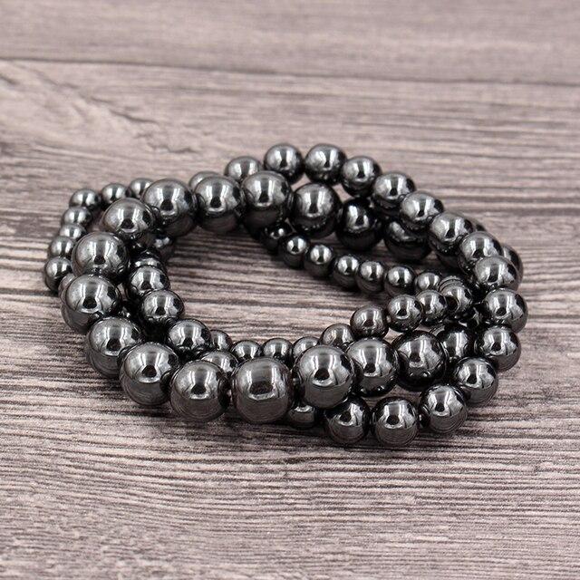 Фото модные черные магнитные гематит 6/8/10 мм каменные бусины браслет цена
