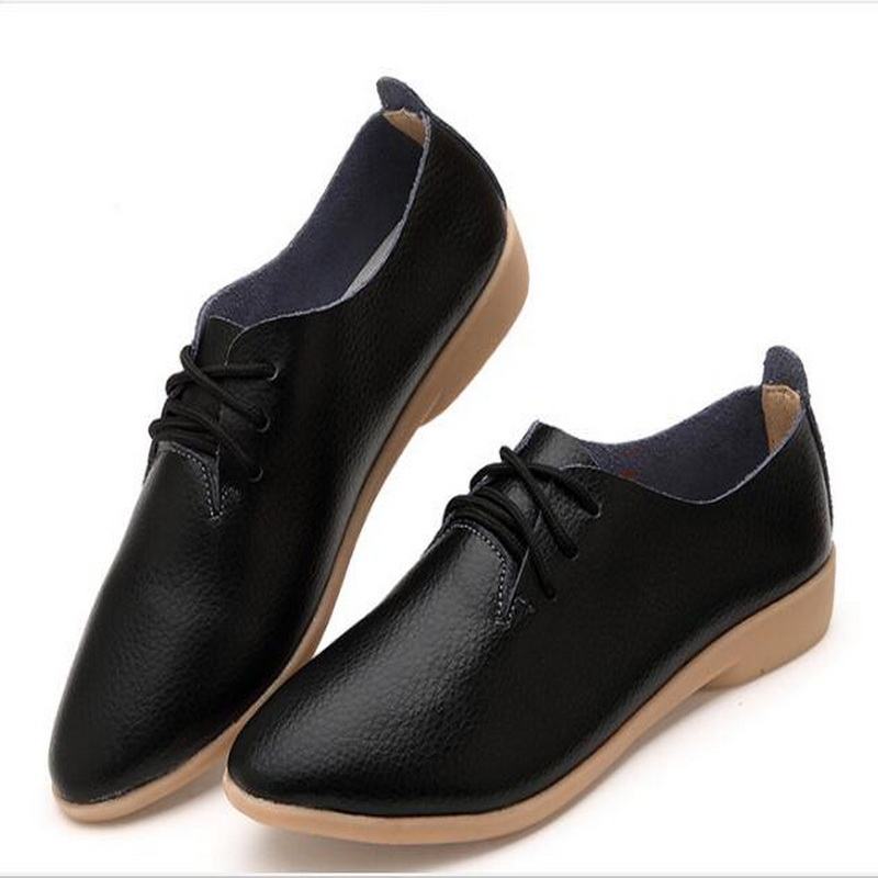 Taomengs <font><b>18</b></font> <font><b>Women</b></font> Genuine Leather Oxford Shoes <font><b>Women</b></font> Pointed Toe Casual Nurse Spring Autumn shoes <font><b>Women</b></font> Loafers black Shoes 3544 image