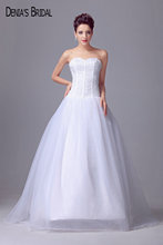 2017 Real Photos Sweetheart A-Line Wedding Dresses Beaded Top Floor-Length Sweep Train Bridal Gowns