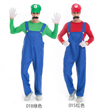 High quality!!2017 New super mario costume Mario and luigi brothers Cosplay costumes Adult Plumber Costumes For Halloween M-XL
