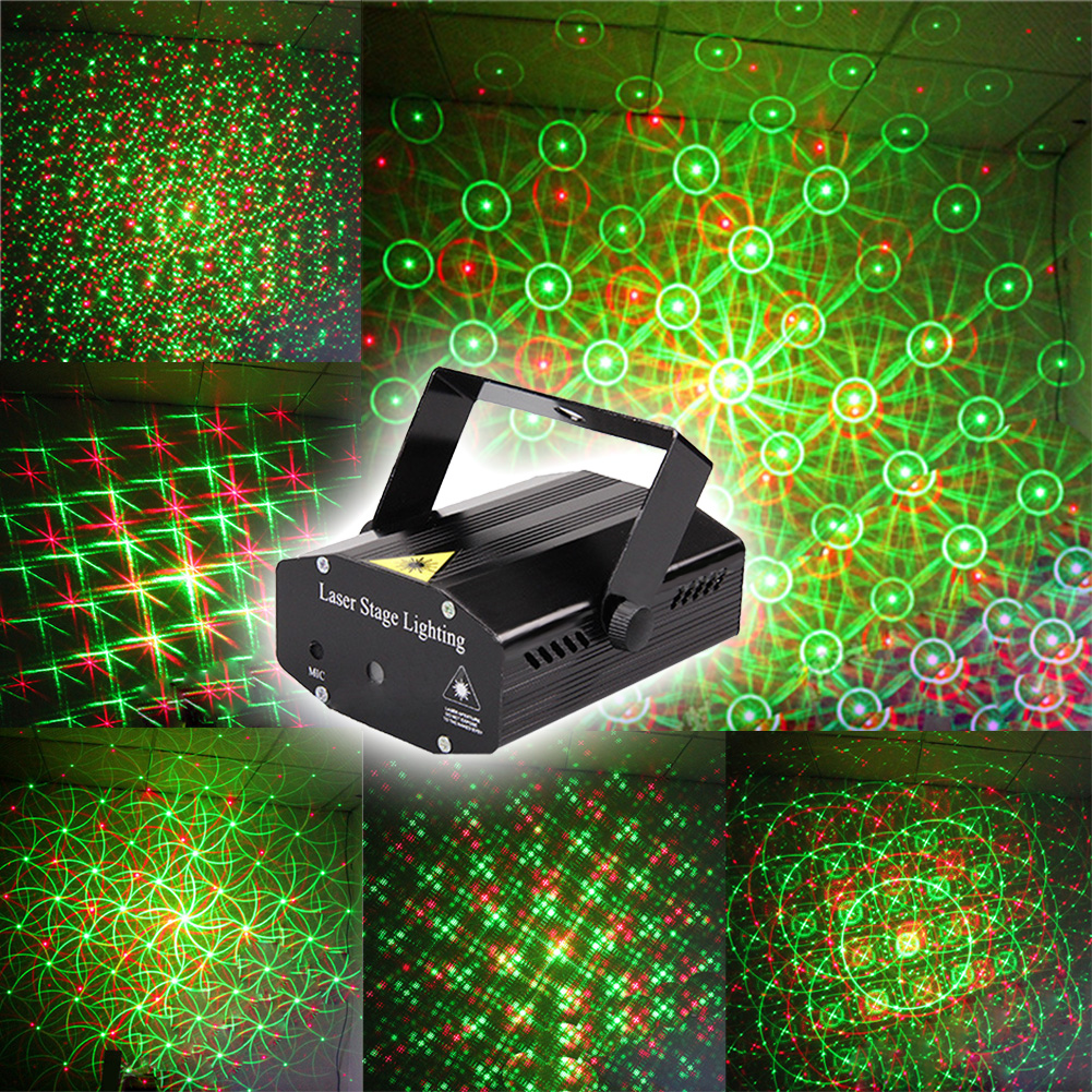 DIU# Wonderful R&G Red Green Laser Projector Stage Light Home Party Lighs DJ Disco Night Club Lighting US plug