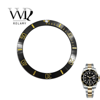 Rolamy Wholesale Replacement Black With Gold Writings Ceramic Bezel 38mm Insert made for Submariner GMT 40mm 116610 LN