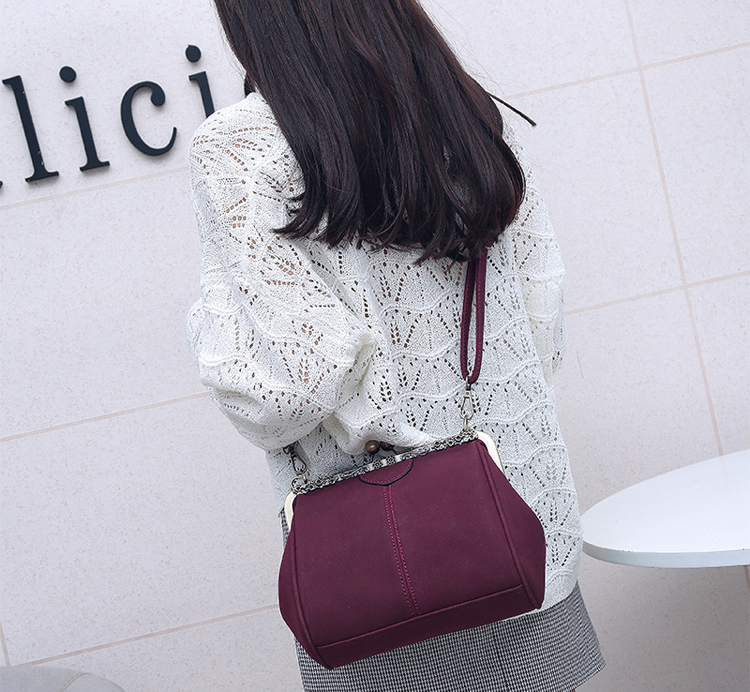 Women PU Leather Purse Retro Fashion Top Handle Handbag Kiss Lock Crossbody Shoulder Bag for Ladies (6)