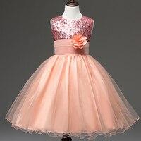 Elegant Summer Flower Girls Dresses Lace Girl Sequins Birthday Party Dress Princess Tutu Wedding Gowns Baby