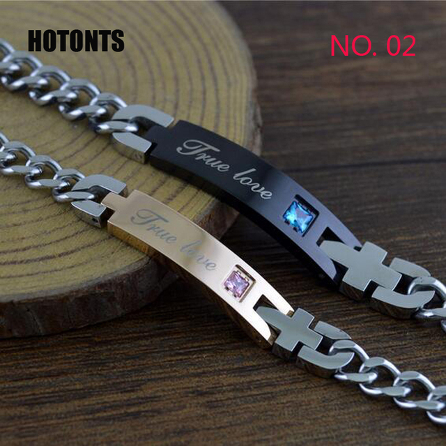 038 Ture Love Letter Luxury Austrian Crystal Id Bracelets Stainless Steel Cross