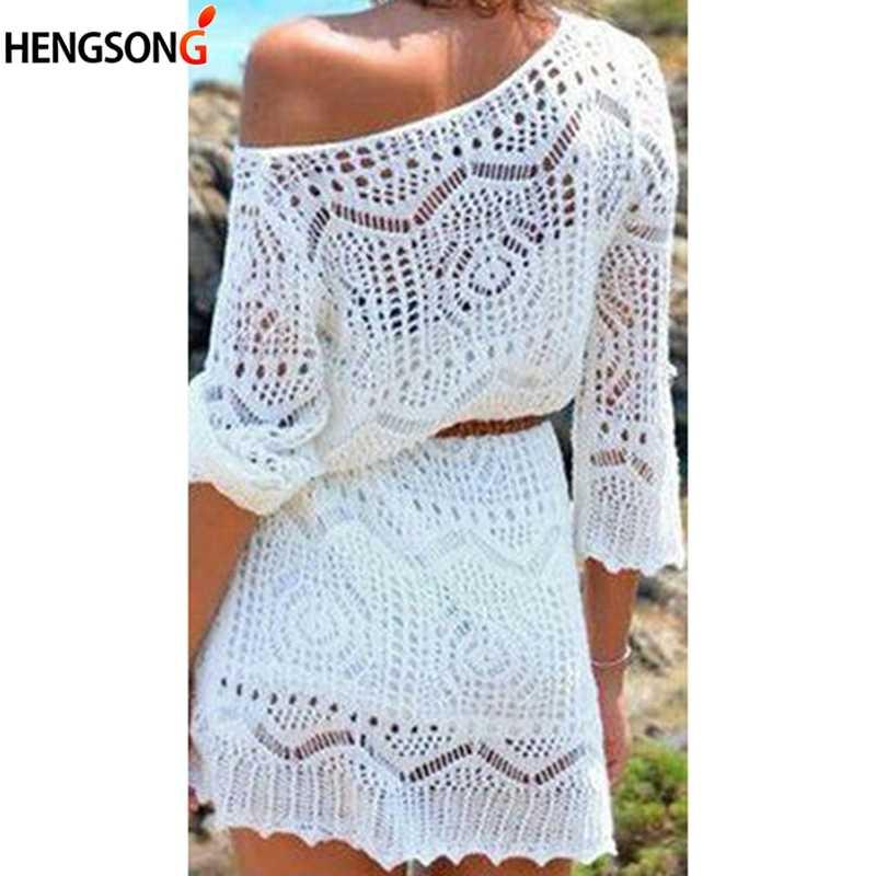 HENGSONG 2019 summer Sexy Lace Hollow Knit Beach Dress Swimwear Crochet Beach Mini Dress Round Neck White Women Dress 737459