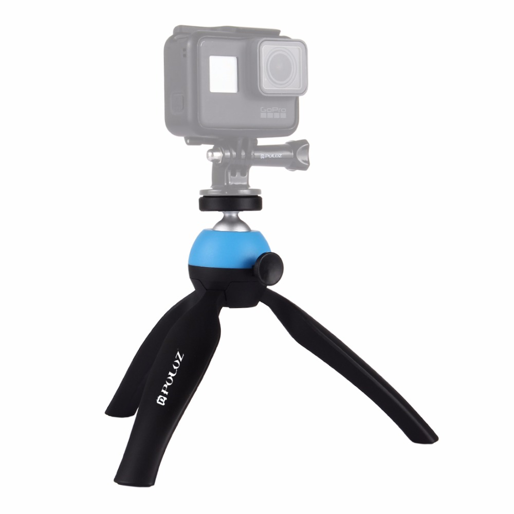 DSLR Cameras Mini Desktop Travel Tripod Plastic Tripod Mount with 360 Degree Ball Head for Smartphones GoPro PULUZ Tabletop Tripod Blue