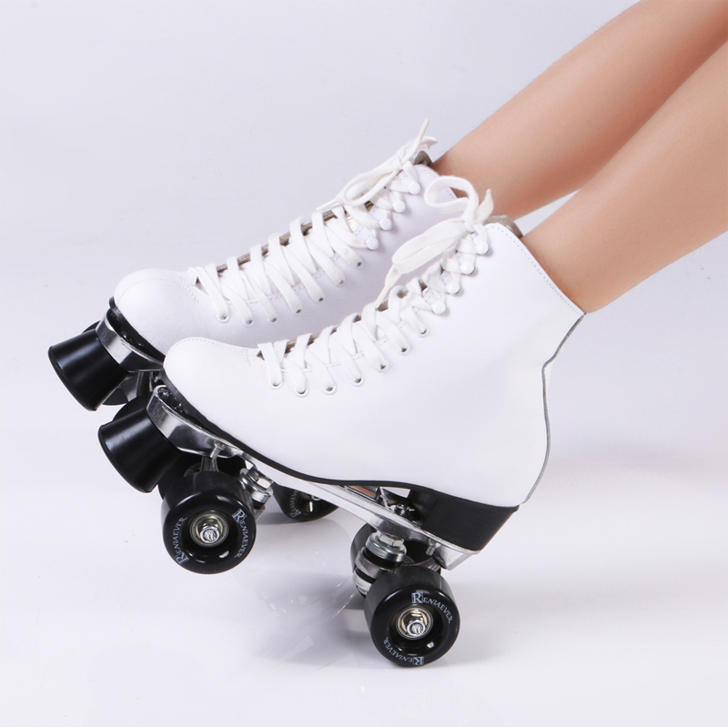 Double row skate polyurethane wheels double Roller skates Real Leather Boot Aluminium Plate white Free shipping