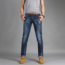 Free shipping 2016new fashion spring mens jeans slim fitness100% cotton elastic pants male brand clothing jeans#FL6110
