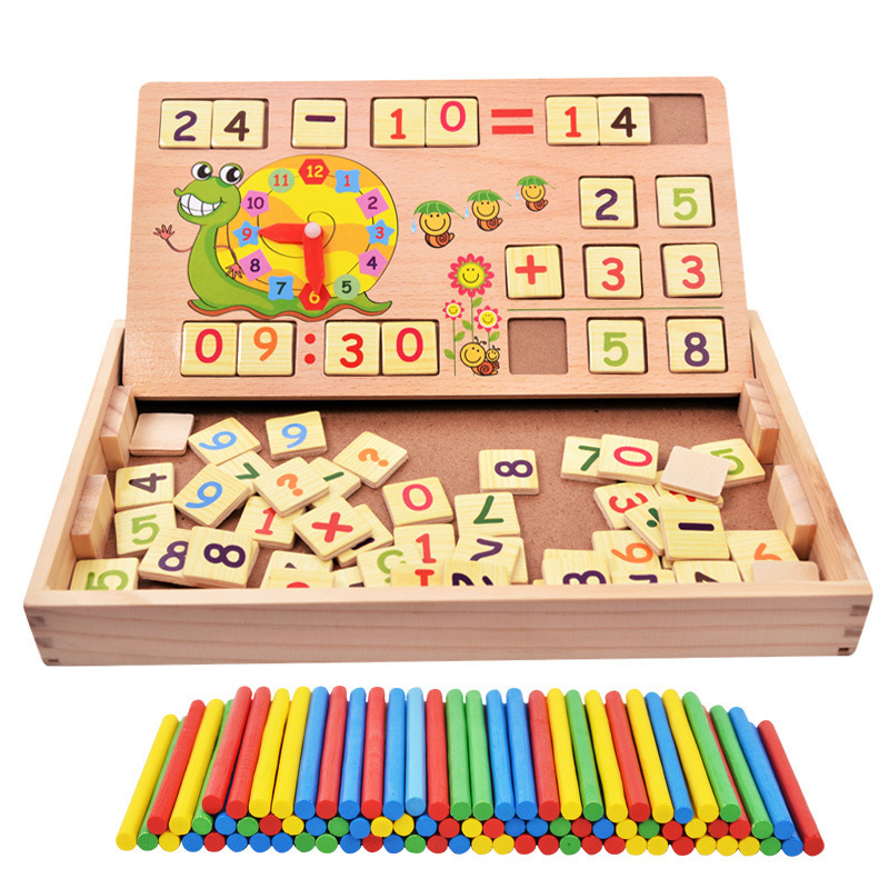 Baby Classic Mathematic Wooden Toy with 100PCS Sticks 70PCS Wooden Number card Wood Box Early educational
