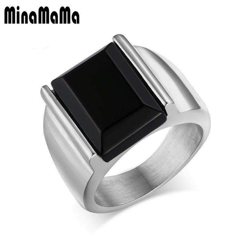 הטבעת של גברים אופנה טבעות חותם אבן מבריק שחור צבע זהב כסף נירוסטה מלוטשת גבוהה Charmimg טבעת לגברים