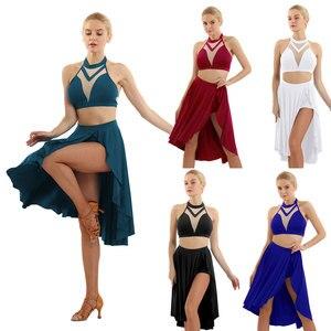 Image 2 - Ballet Dress Adult Women Asymmetric Lyrical Dance Costumes Ballet Leotard For Women  Halter Neck Backless Crop Top with Skirt
