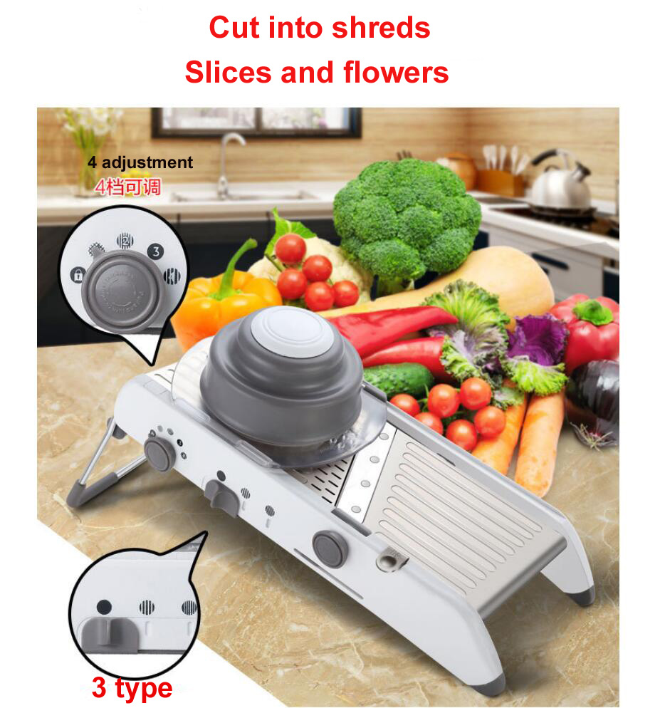 Adjustable Slicer Professional Grater with 304 Stainless Steel Blades Vegetable Cutter Kitchen Accessories adjustable mandoline slicer professional grater