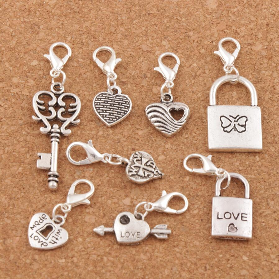 Heart Lock Clip on Charm for European Charm Jewelry with Lobster Clasp