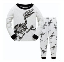 Grey Dino Fossil Baby Boy Clothes Suit Cotton Children Pajamas Clothing Set Cartoon Dinosaur Baby Boys Sleepwear Pyjamas 1-7year(China)
