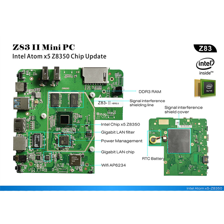 Beelink Z83II Mini PC Smart ТВ Box Intel Atom x5-Z8350 4 ядра Windows 10 64bit телеприставки Оперативная память 2 г Встроенная память 32 г BT4.0 media player