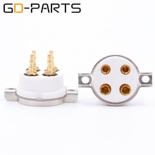 GD PARTS 2PCS 4pin Ceramic Tube Socket Valve Base For 2A3 300B PX4 5Z3P 5U4G 274A 45 71 Vintage Amplifier DIY Gold Plated
