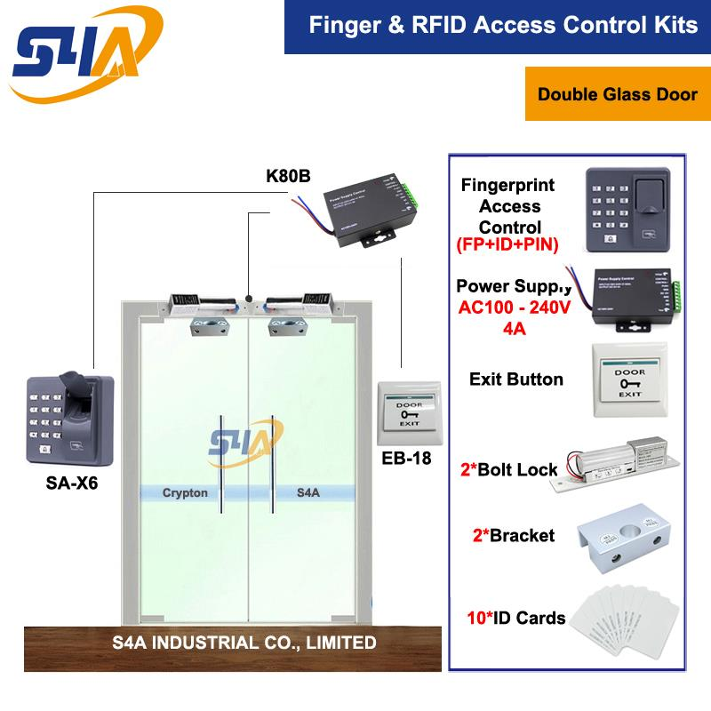 Double Glass Door Rfid Door Access Control System + Bolt Lock + Exit Button c3 100 single door high quality access control system one door two way access control panel 1 pc rfid reader 1 pc exit button