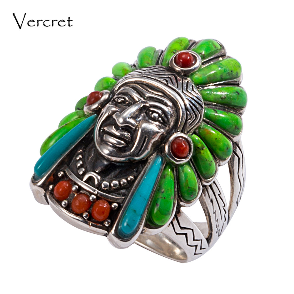 Vercret Turquoise 925 Silver Native American Indian Chief Head Ring for Women Vintage Fine Jewelry Ring retro fake turquoise multilayered toe ring anklet
