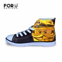 FORUDESIGNS Ninjago Super Wings Header Printing Skateboarding Shoes High Top Canvas Shoes Sneakers For Boys Leisure
