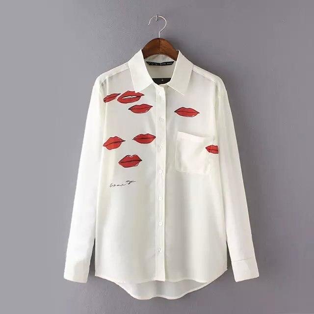 Lápiz labial de impresión camisa de gasa dama blusa blanca 2016 nueva moda Hipster labios rojos