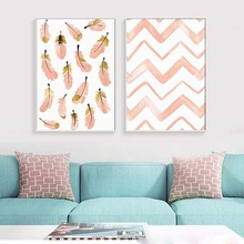 Pink Line Drawing Feather Wall Art Poster&Print For Bedroom Modern Wall Decor Modular Canvas Picture Home Goods Wall Chart Photo майка print bar drawing a line