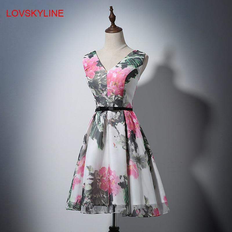 Short   Bridesmaid     Dresses   Pretty Off the Shoulder V-neck Print Flowers Fashion Prom   Dresses   2018 New